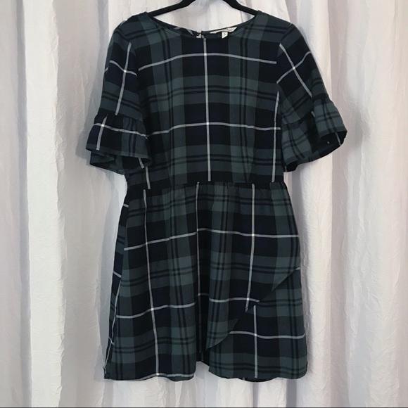 Speechless Dresses & Skirts - Blue & Green Plaid Dress Ruffle Sleeve